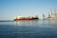 Container ship is moored in port Royalty Free Stock Images