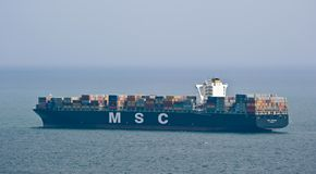 Container ship MSC Luciana on the high seas.  East (Japan) Sea. Pacific Ocean. 07.06.2014. Far East of Russia. East (Japan) Sea Stock Images