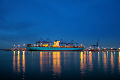 Container ship at night Stock Images