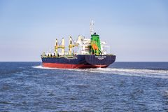 Container vessel in the North Sea on her way to Hamburg stock photo