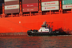 Container ship in Oakland harbor Royalty Free Stock Images