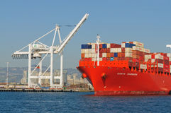 Container ship in Oakland harbor Stock Photo
