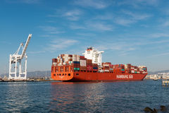 Container ship in Oakland harbor Royalty Free Stock Photos