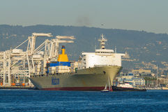Container ship in Oakland harbor Royalty Free Stock Image