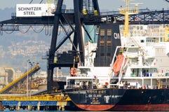 Container ship in Oakland harbor Stock Photos