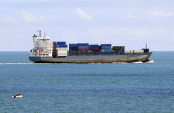Loaded Container Ship on Open Waters Royalty Free Stock Photo
