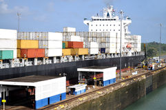 Container ship in the Panama canal Royalty Free Stock Photography