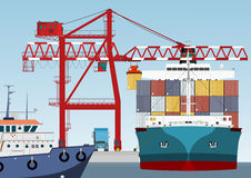 Container ship in port. And large port crane Stock Image