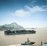 Container ship into port Stock Image