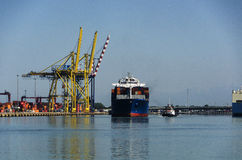 Container ship in the port of Civitavecchia. Royalty Free Stock Photography