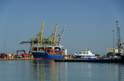 Container ship in the port of Civitavecchia. Royalty Free Stock Photo