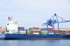 Container ship in the port royalty free stock photos