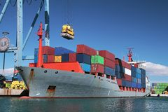 Container ship in port Stock Photo