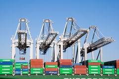 Container ship port cranes Stock Image