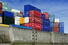 Container ship at the Port of Hamburg (Hamburger Hafen),Germany. Royalty Free Stock Photos