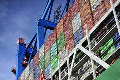 Container ship at the Port of Hamburg (Hamburger Hafen),Germany. HAMBURG, GERMANY - 22 MARCH 2015: Container ship at the Port of Hamburg (Hamburger Hafen) is a Royalty Free Stock Photos