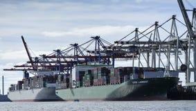 Container ship at the Port of Hamburg (Hamburger Hafen),Germany Stock Photos
