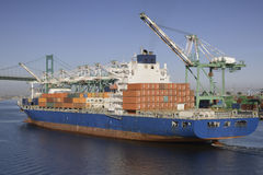 Container ship. In the port of Los Angeles Royalty Free Stock Photo
