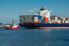 Container ship in the port of Rotterdam, Holland Royalty Free Stock Photography