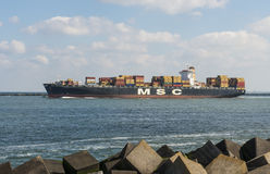 Container Ship in port of Rotterdam Royalty Free Stock Images