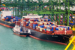 Container ship in the port of Singapore Stock Image