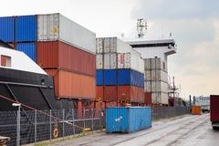 Container ship in port terminal Royalty Free Stock Photos