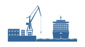 Container ship in the port stock illustration