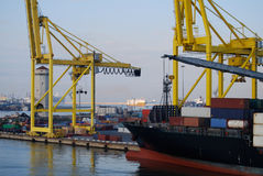 Container Ship ready to offload in Barcelona Spain Stock Image