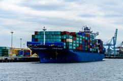 Container ship registered in Liberia Stock Image