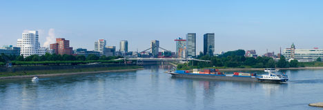 Container ship on Rhine royalty free stock photography