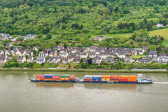 Container ship on the Rhine River, Germany Stock Photo