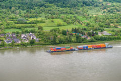 Container ship on the Rhine River, Germany Royalty Free Stock Images