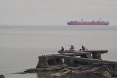 Container ship on Rio de la Plata Royalty Free Stock Photos