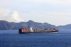 Container ship sailing from port Royalty Free Stock Photo