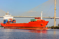 Container ship sailing into port Royalty Free Stock Photo