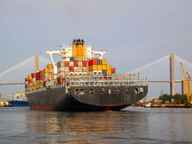 Container Ship in Savannah. A  fully loaded container ship arriving in Savannah Stock Photography