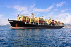 Container ship in sea. Large container ship outside harbor Royalty Free Stock Photography
