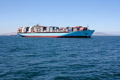 Container Ship on sea Stock Image