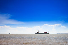 Container ship at sea. With blue sky Royalty Free Stock Photos