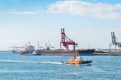 Container ship in the sea Stock Photos
