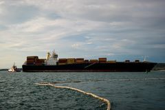 Container ship at sea. Container ship traction Stock Images