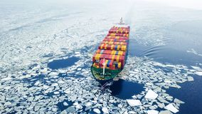 Container ship in the sea at winter time. Aerial view of container ship in the sea at winter time royalty free stock photos