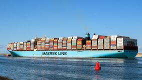 Container ship shipping port Rotterdam royalty free stock image