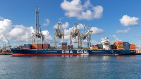 Container ship shipping terminal port Stock Images