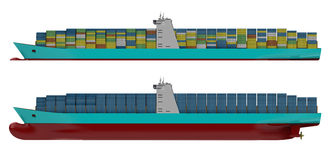 Container ship side. View with two version one with whole body one only from water line, also one with multi coloured containers and one with all blue Royalty Free Stock Images