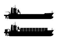 Container ship. Silhouette of modern container ship. Flat vector Stock Photo