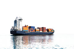 Container ship silhouette Stock Image