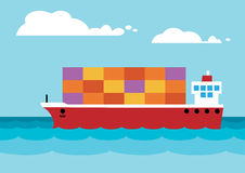 Container Ship. A simplified container ship on the open sea Stock Photo