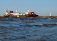 Container ship in Swinoujscie. Royalty Free Stock Images