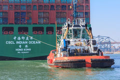 Container ship with tug boat in Rotterdam harbor Royalty Free Stock Image